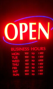 ***BRIGHT***BUSINESS HOURS OPEN/CLOSED SIGN***FLASHING***