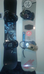 Couples snowboards with bindings