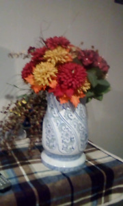 Oriental vase 20 inches high with flowers