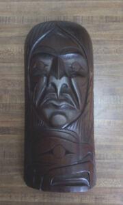 Shaman with Eagle -- Cedar Carving by Chris Paull