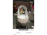 Lovely moses basket white unisex lovely lovely basket