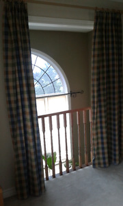 4 curtain panels, bed skirt & extra fabric