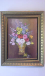 Vintage floral painting, oil on canvas, signed by artist