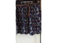 George age 12-13 floral, belted lined skirt