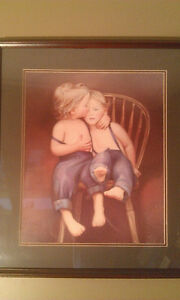 N.A. (Nancy) Noel Print 2 Blonde Boys in Overalls on Chair