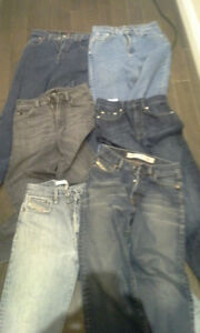 A LOT OF USED DESIGNER JEANS NO TEARS STAINS SMELLS