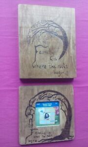 wood burned picture frame and picture