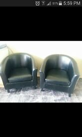 x2 faux leather bucket chairs.