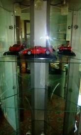 Corner glass and mirrors display cabinet