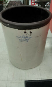 ANTIQUE CROCK 12 GALLON BLUE CROWN STONEWARE ROBINSON RANSBOTTOM