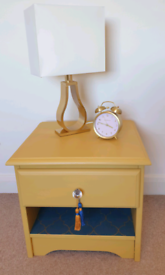 Upcycled bedside table nightstand-yellow, blue, crystal