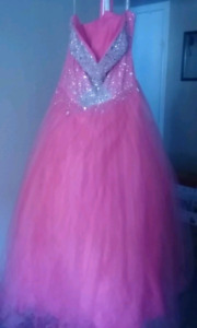 Size 18, Pink Ball Gown, Corset Back
