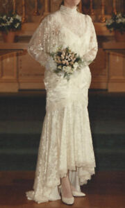 Wedding Dress with Beaded Lace Tunic
