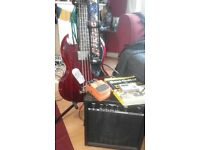 Epiphone SG short scale bass, Good condition, comes with amp, strap & stand