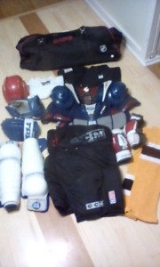 Bag of adult hockey equipment