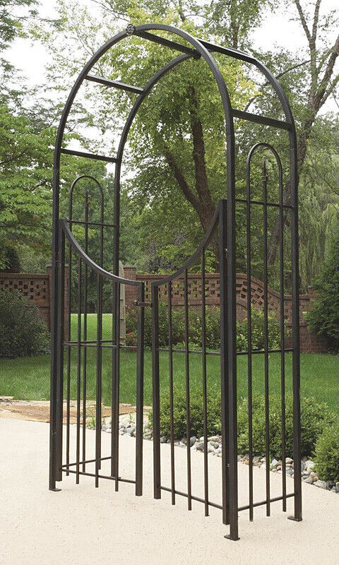 92 H Brushed Bronze Panacea Arch Topped Garden Arbor With Gate - $179.98