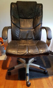 Black Leather High-Back Desk Chair