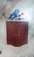 Dart Board with Oak Cabinet