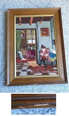 Gobelin Bild Stickbild verzierter Holzrahmen