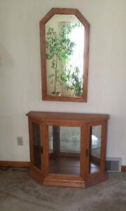 Oak Hall Table & Mirror