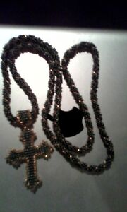 beaded necklace and beaded cross pendent