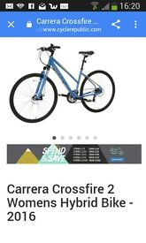 Ladies bike carrera crossfire 2 new with helmet