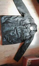 XL Heavy Black double breasted Leather Jacket by RHOS London.