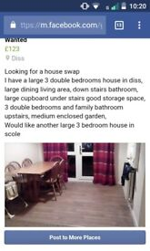 Large 3 bed house diss looking for another large 3 bed