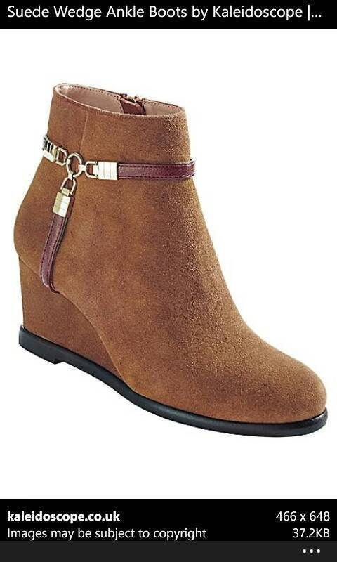 Brand New Suede Wedge Ankle Boots In