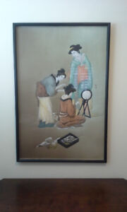 Big Oriental silk painting signed by artist