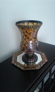 Partylite Mosaic Hurricane Candle Holder with Mirror Base