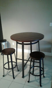Wood Pub Table + chairs