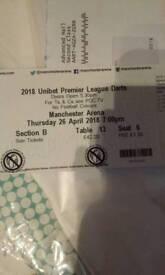 Darts Premier League Manchester 26th April Table Ticket