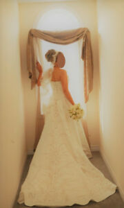 Wedding Dress & Veil (Sold Separate)- DryCleaned & Boxed, Size 6