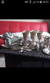 6 silver plated wine goblets for sale