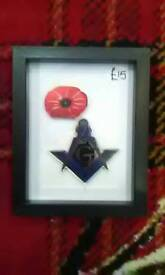 Masonic square and compass with poppy