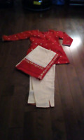 Brand New Red Embroidered Kurti with Pants and Stole