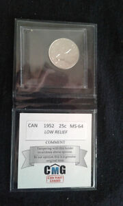 1952 canadian silver 25 cent coin