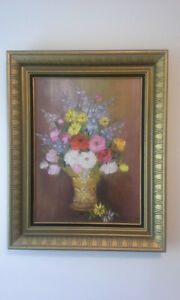 Vintage floral painting signed by artist