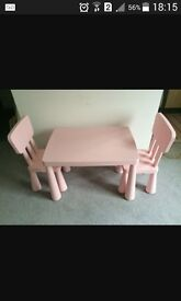 Ikea pink table and chairs