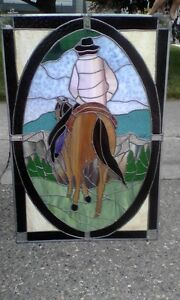 Stained Glass Cowboy Horse Western Theme