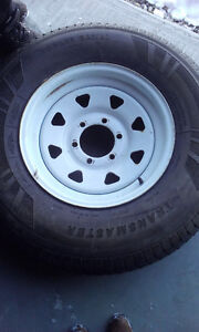 235/80 R16 WHITE STEEL 6 BOLT RIMS AND TIRES London Ontario image 2