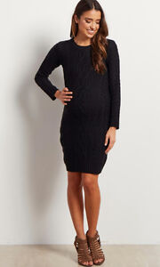 Maternity Cable Knit Sweater Dress