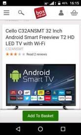Brand new in box cello 32 inch smart television