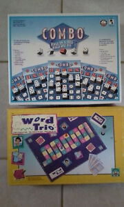 Two board games--Word Trio and Combo Bingo on-a-roll,  in very g