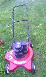 Gas lawnmower with bag, needs new brake cable, $60 obo