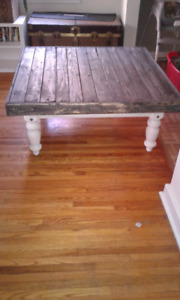 Hand crated wooden coffee table