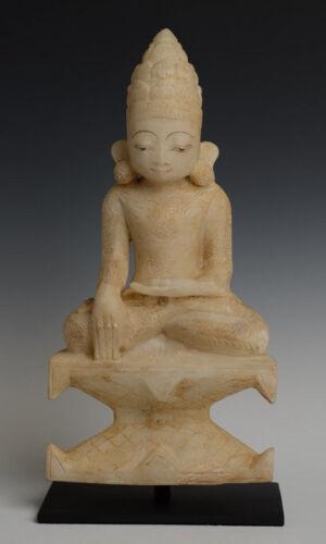 18th Century, Shan, Antique Burmese Alabaster Seated Crowned Buddha