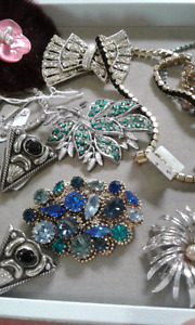 Vintage rhinestone and silver jewelry
