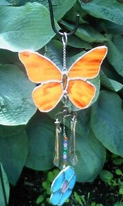 Garden/yard Stained Glass ornament/wind chime